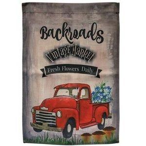 Backroads Red Truck Garden Flag